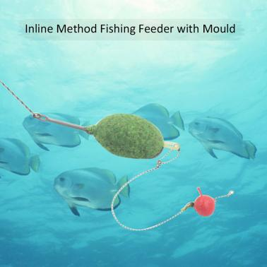 Hybrid Inline Method Fishing Feeder Set Bream Carp Tench Coarse Fishing Tackle with Bait Mould 20g/30g/40g/50g