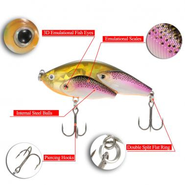 Group Fish Lures Floating SwimBait Hard Plastic 3d Fish Eye VIB Rattlin