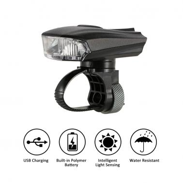Outdoor Cycling Bicycle Light Smart Sensor Warning Light Shock Sensor LED Front Lamp USB Rechargeable MTB Mountain Road
