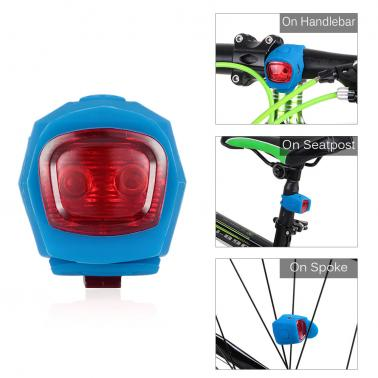 Silicone Bicycle Double LED Light Water Resistant Cycling Lamp Headlight Warning Light Mountain Bike Road Bike Head Ligh