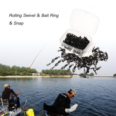 100pcs Rolling Swivel Bait Ring Hooked Snap Combo for Carp Rigs Hooks Carp Fishing Accessory Tackle