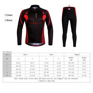 WOSAWE® Unisex Breathable Quick-dry Cycling Full-zip Long Sleeve Jersey Pants Bicycle Clothing Sets Suits Bike Racing Mo
