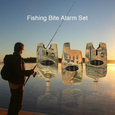 Wireless LED Fishing Alarm Alert Set with Case 2 Fishing Bite Alarms + 1 Receiver
