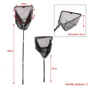 50*50cm/60*60cm Aluminum Alloy 3 Sections Folding Landing Dip Net Fishing Net Telescopic Handle Fishing Tackle