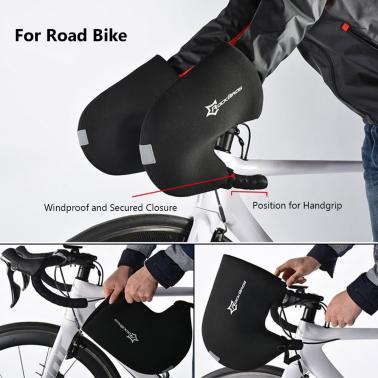ROCKBROS Rainproof Neoprene Winter Unisex Cycling Handlebar Bar End Mittens Mitts Gloves Road Bicycle Bike Hands Protec