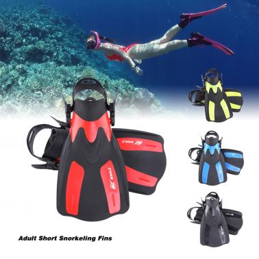 WHALE Adult Short Snorkeling Swim Fins Flippers with Adjustable Heel Water Sports