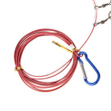 Stainless Steel Fishing Stringer Fish Lock 5 Snaps Lanyard Rope Cord with Float Fishing Tackle Tool Accessories