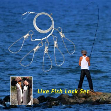 5 Snaps Stainless Steel Fish Stringer Fishing Accessories Tackle Tool
