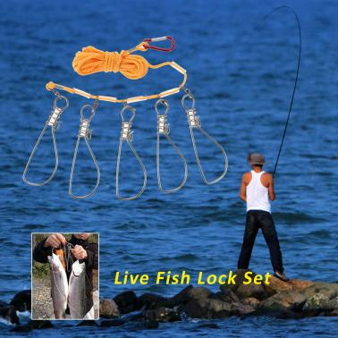 5 Snaps Rope Lanyard Fish Lock Fishing Accessories Tackle Tool