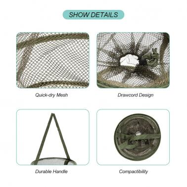3 Layers Quick-dry Fishing Net Trap Net Mesh Net Folding Shrimp Nets Cage Fishing Tackle 4 Sizes
