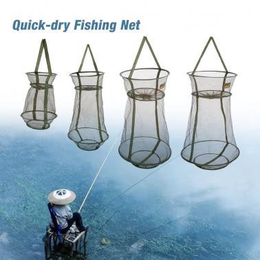 3 Layers Quick-dry Fishing Net Trap Net Mesh Net Folding Shrimp Nets Cage Fishing Tackle 4 Sizes