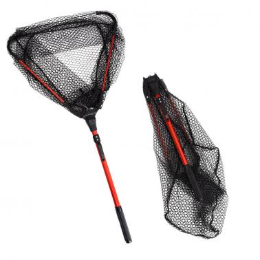 Fly Fishing Triangle Brail Landing Net Portable Foldable Lightweight Net Nylon Fishing Net Aluminum Alloy Frame