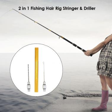 Aluminum Alloy 2 in 1 Carp Coarse Fishing Hair Rig Needle Set Bait Needle Stringer & Driller