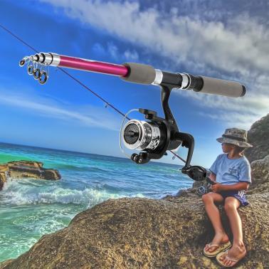 Children's Kids' Fishing Tackle Kit Portable Rod Reel Set with 1.8m Retractable Fishing Rod Fishing Reel Fishing Bag