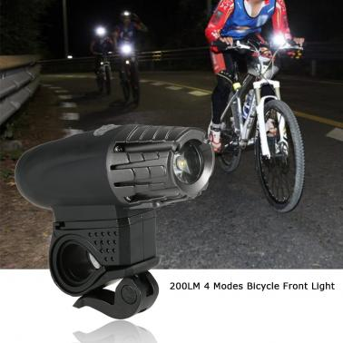Mini Rechargeable Bright 200LM 4 Modes Bicycle MTB LED Front Light Lamps Bike Front Light Torch Water Resistant + Light