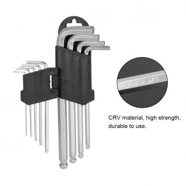 Set of 9 1.5-10mm L-Wrench Stubby Chrome Vanadium Steel Ball End Tip High Torque Hex Key L-Wrench Set Balldriver Screwdr
