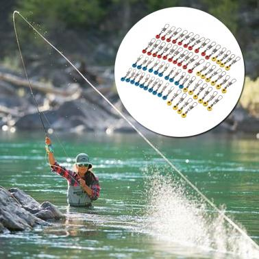 60pcs Space Beans Fishing Connector Float Connector Rolling Swivel Fishing Accessories Fishing Tackle Tool 3 Colors