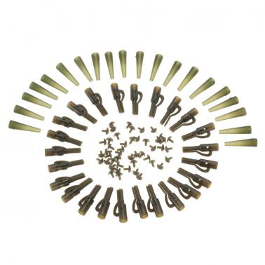 60pcs/20 Sets Safety Lead Clips Tail Rubber Tubes with Pins Carp Fishing Tackle Accessories