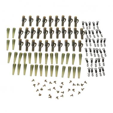 120pcs/30Set Fishing Set Safety Lead Clips Tail Rubber Tubes with Pins Quick Change Swivels Carp Fishing Terminal Tackle