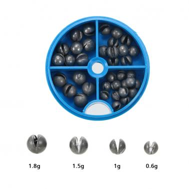0.6/1/1.5/1.8g Removable Round Lead Split Shot Sinker Kit Set Open Pure Lead Weights Fishing Tackle Beans Sinker with Bo