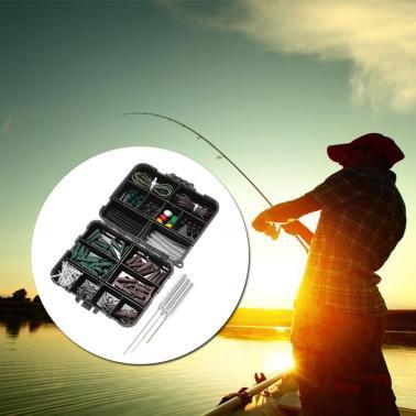 142PCS Carp Fishing Tackle Box Clips Hooks Swivels Baiting Needles Terminal Rigs