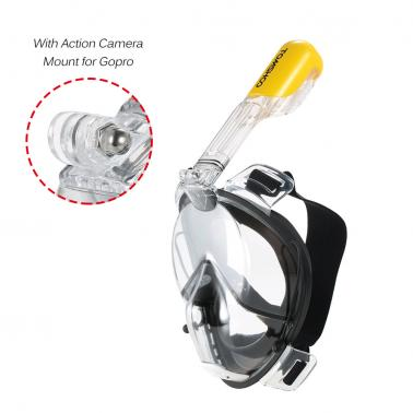 TOMSHOO Adult female and teenagers Swimming Diving Snorkel Mask with Action Gopro Mount