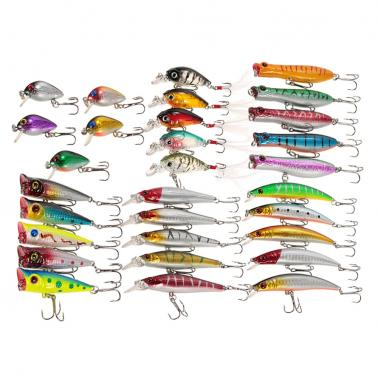 30pcs Assorted Size Minnow Wobbler Fly Fishing Lures Crankbaits Popper Carp Fishing Artificial Hard Baits Kit Fishing Ac