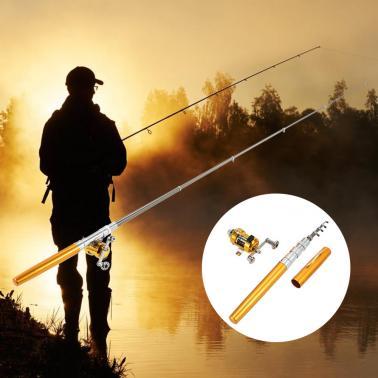 Fishing Rod Reel Combo Kit Set Mini Telescopic Portable Pocket Pen Fishing Rod Pole + Reel Aluminum Alloy Fishing Access