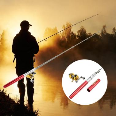Fishing Rod Reel Combo Kit Set Mini Telescopic Portable Pocket Pen Fishing Rod Pole + Reel Aluminum Alloy Fishing Access