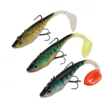 3Pcs 3D Eyes Fishing Lures Set Kit with T Tail Trebble Hook Soft Fishing Lure Baits Artificial Bait Lure