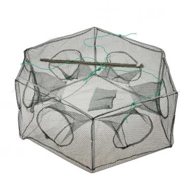 Foldable Fishing Net Hexagon 6 Hole Fishing Net Shrimp Cage Trap Minnow Crab Baits Mesh Trap Net