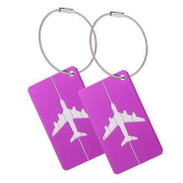 2pcs Travel Airlines Luggage Tags Suitcase Bag Tag Address Name Identity ID Label Identifier Metal Aluminum Alloy