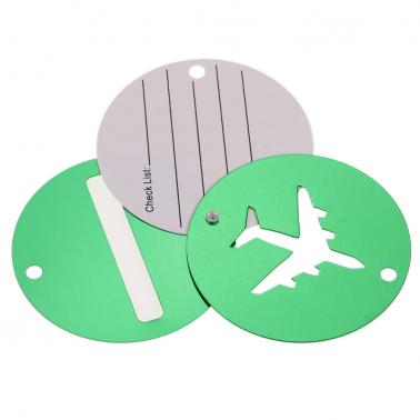 2Pcs Aluminum Alloy Metal Air Plane Pattern Travel Airlines Round Luggage Tag Baggage Handbag Suitcase Identity ID Label