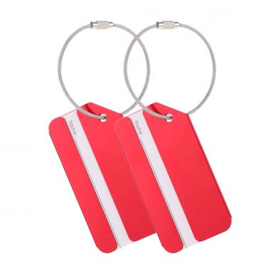 2Pcs Metal Aluminum Alloy Travel Airlines Suitcase Luggage Bag Identifier Tags Tag Labels Bag ID Address Name Identity H