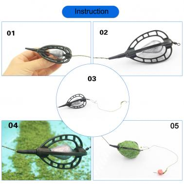 Fishing Tackle Bait Cages Carp Fishing Lure Swivel with Lead Sinker Fishing Bait Cage Basket Holder