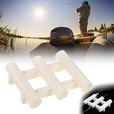 Boat Fishing Rod Holder Plastic Side-Mount Rod Bracket Triple Holder Tube Fishing Gear Accessories