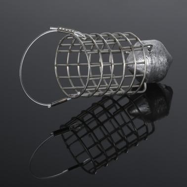 Stainless Steel Feeder Holder Fishing Lure Cage Fishing Trap Basket Feeder Bait Cage Fishing Bait Basket with Sinker 30g