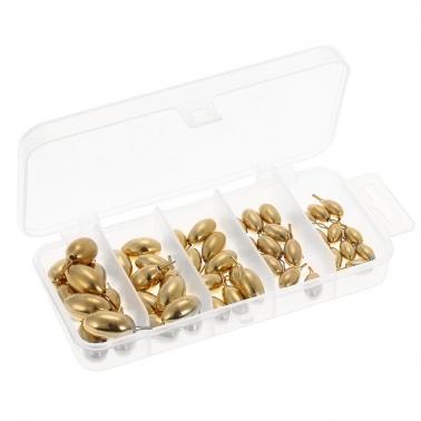 50pcs Assorted Copper Sinker Bulk Set Box Elliptic Swivel Sinker Kit Casting Drop Copper Sinker Fishing Tackle Accessori