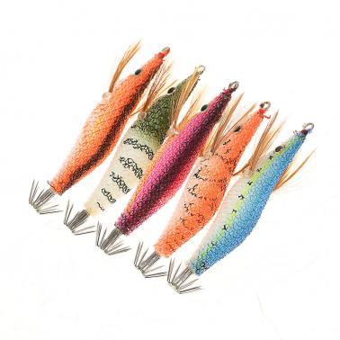 5pcs/set Fishing Bait Set Shrimps Fishing Lures Luminous Plastic Artificial Squid Fishing Baits with Hooks