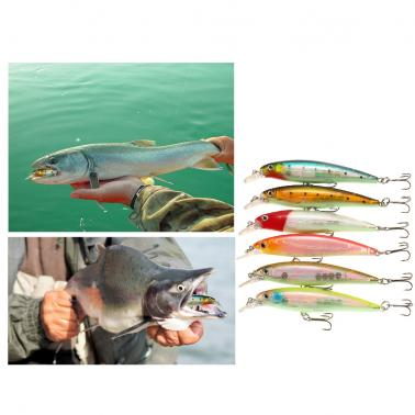 6 PCS 11cm / 13.1g Fishing Lure Bait Hard Fish Bait Treble Hook Fishing Tackle with Portable Storage Box