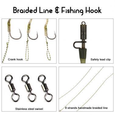 Carp Fishing Hair Rigs Braided Thread Curve Shank Fishing Hook with Line Carp Rigs Fishing Accessories