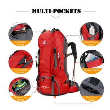 Free Knight 60L Hiking Backpack Mountaineering Camping Trekking Travel Bag Large Capacity Internal Frame Water Resistant