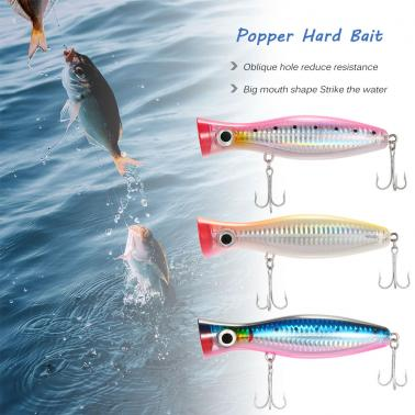 4.7IN Big Popper Lure Bait Hard Baits Fishing Lure Baits Topwater Bait with High Carbon Steel Hooks
