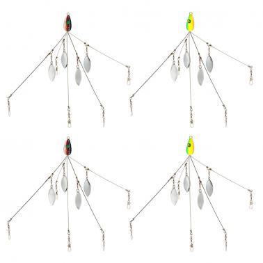 4PCS Umbrella Fishing Baits Lures Bass Fishing Rigs Five Arm Blades Wire Multi Lure Rig Kit with Barrel Swivels