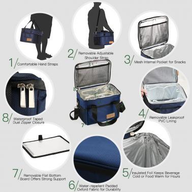 TOMSHOO 10L / 18L / 28L / 37L / 47L Large Capacity Insulated Lunch Bag Reusable Foldable Cooler Tote Grocery Bag Portabl