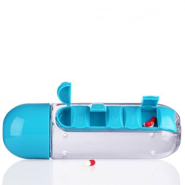Portable 600ml Sports Plastic Creative Water Bottle Combine Daily Pill Boxes Organizer Drinking Bottles Leak-Proof Tumbl