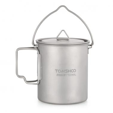 TOMSHOO Portable Ultralight 750ml Titanium Pot