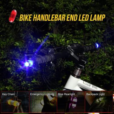 A Pair of Bike Bicycle Handlebar Handle Bar End Plug LED Lamp Safety Safe Bike Flashing Light Cycling Warning Flashlight