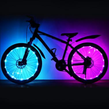 LED Bike Wheel Light Bicycle Wheel Tire Spoke Light Cycling Bike Wheel Warning Lamp Bike String Light Lamp