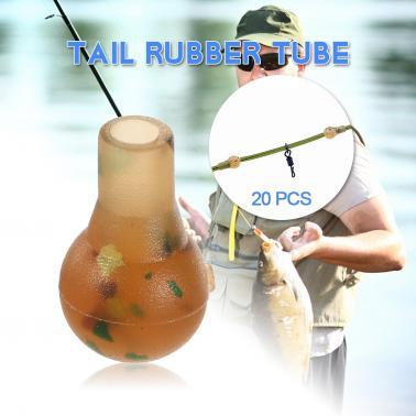 20PCS Anti-tangle Sleeves Tail Rubber Tube Carp Fishing Tackle Fishing Terminal Accessories